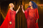 London, UK. 2 March 2016. Anthony Roth Costanzo as Akhnaten and Emma Carrington as Nefertiti. English National Opera (ENO) dress rehearsal of the Philip Glass opera Akhnaten at the London Coliseum. 7 performances from 4  to 18 March 2016. Directed by Phelim McDermott with Anthony Roth Costanzo as Akhnaten, Emma Carrington as Nefertiti, Rebecca Bottone as Queen Tye, James Cleverton as Horemhab, Clive Bayley as Aye, Colin Judson as High Priest of Amon and Zachary James as Scribe. Skills performances by Gandini Juggling.