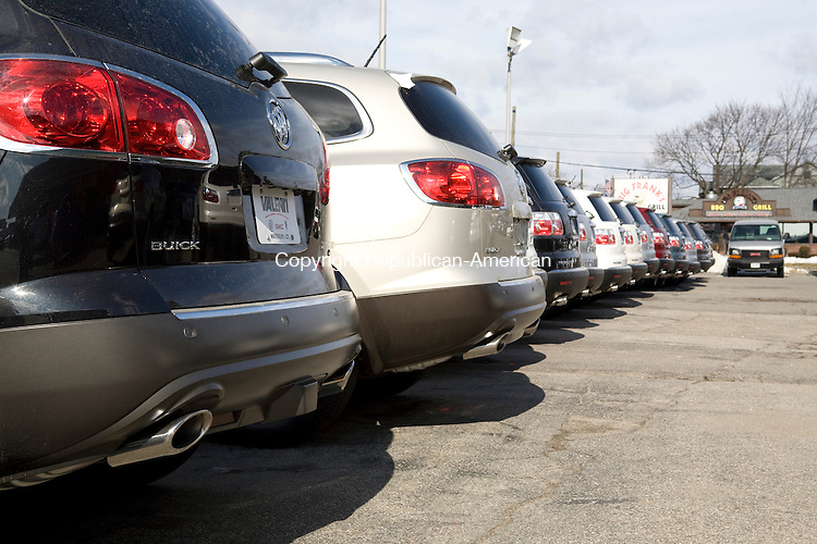 Waterbury, CT-15, February 2010-021510CM06    A row of Buick SUVs sit on the lot at Valenti Buick Pontiac GMC on Watertown Ave. in Waterbury Monday morning.    --Christopher Massa Republican-American