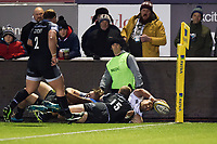 Cooper Vuna of Bath Rugby scores a try in the corner. Aviva Premiership match, between Newcastle Falcons and Bath Rugby on February 16, 2018 at Kingston Park in Newcastle upon Tyne, England. Photo by: Patrick Khachfe / Onside Images