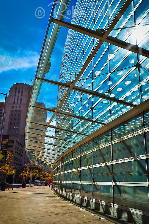 Glass and details of Schuster Center, Dayton. Custom glass installation with ovals