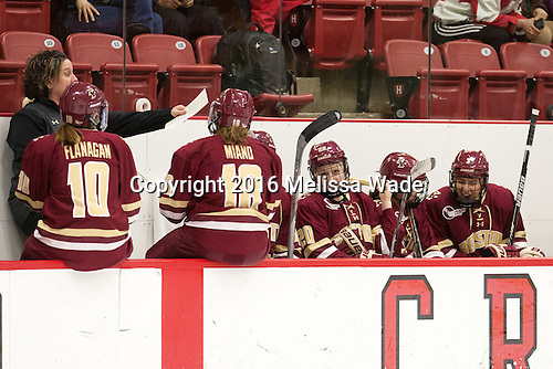 Courtney Kennedy (BC - Associate Head Coach), Kali Flanagan (BC - 10), Toni Ann Miano (BC - 18), Ryan Little (BC - 20), Serena Sommerfield (BC - 3) - The visiting Boston College Eagles defeated the Harvard University Crimson 2-0 on Tuesday, January 19, 2016, at Bright-Landry Hockey Center in Boston, Massachusetts.