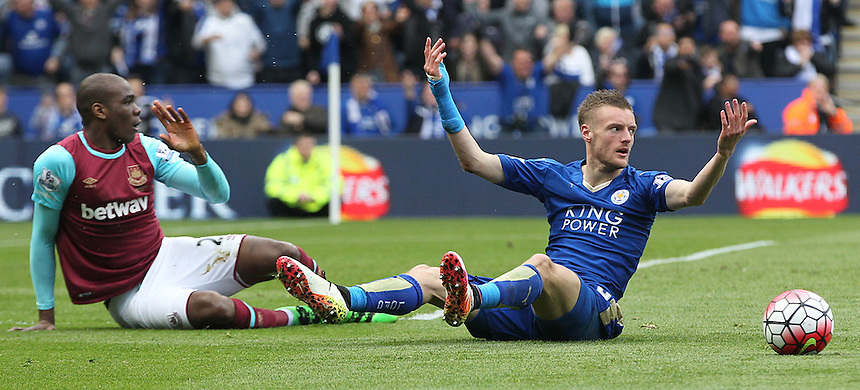 Leicester City's Jamie Vardy is judged to dive against West Ham United's Angelo Ogbonna Obinze<br /> <br /> Photographer Rachel Holborn/CameraSport<br /> <br /> Football - Barclays Premiership - Leicester City v West Ham United - Sunday 17th April 2016 - King Power Stadium - Leicester <br /> <br /> &copy; CameraSport - 43 Linden Ave. Countesthorpe. Leicester. England. LE8 5PG - Tel: +44 (0) 116 277 4147 - admin@camerasport.com - www.camerasport.com