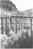 Boxcar #3623 derailed on Butterfly Trestle.<br /> RGS  Butterfly, CO  Taken by Reid, Homer - ca. 1948
