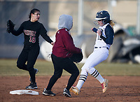 NWA Democrat-Gazette/CHARLIE KAIJO Bentonville West High School Mary Frannie Van Es (19) runs to second during a softball game, Thursday, March 13, 2019 at Bentonville West High School in Centerton.