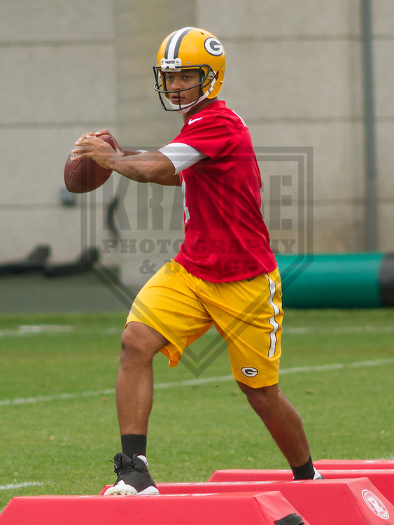 GREEN BAY - June 2015: Green Bay Packers quarterback Brett Hundley (7) during a minicamp practice on June 18th, 2015 at Clarke Hinkle Field in Green Bay, Wisconsin. (Brad Krause/Krause Sports Photography)