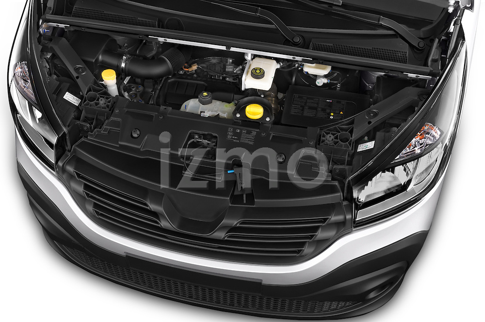 Car Stock 2015 Renault Trafic Fourgon Extra L1H1 dCi 120 TT S&S 2.7T 4 Door Cargo Van 2WD Engine high angle detail view