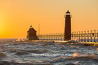 64795-01116 Grand Haven South Pier Lighthouse at sunset on Lake Michigan, Ottawa County, Grand Haven, MI