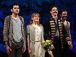 Adam Chandler-Berat, Celia Keenan-Bolger, Christian Borle, Kevin Del Aguila.during the Broadway Opening Night Performance Curtain Call for 'Peter And The Starcatcher' at the Brooks Atkinson Theatre on 4/15/2012 in New York City.