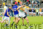 Kilmoyley's James Godley and Lixnaw's Mike Conway  in the Garveys Supervalu Senior County Hurling Championship Round 3 Kilmoyley V Lixnaw at Austin Stacks Park on Sunday