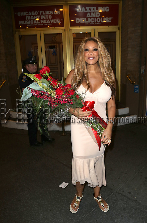 "Wendy Williams leaving the theatre after making her Broadway stage debut as Matron ""Mama"" Morton in CHICAGO at the Ambassador Theatre on July 1, 2013 in New York City."