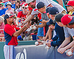 5 March 2015: Washington Nationals third baseman Anthony Rendon signs autographs prior to a Spring Training game against the New York Mets at Space Coast Stadium in Viera, Florida. The Nationals rallied to defeat the Mets 5-4 in their Grapefruit League home opening game. Mandatory Credit: Ed Wolfstein Photo *** RAW (NEF) Image File Available ***