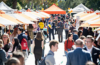 Occidental College Career Services hosts the Career Fair, open to all students seeking full-time, professional jobs and internships, in the AGC quad on Feb. 19, 2019.<br /> (Photo by Marc Campos, Occidental College Photographer)