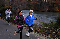 Foreign Minister Julie Bishop jogs through Central Park in New York City, Friday Nov 21, 2014 with Fairfax reporter Latika Bourke and her AFP guard. She is in New York to chair Security Council meetings. to go with Latika Bourke story. photo by Trevor Collens.