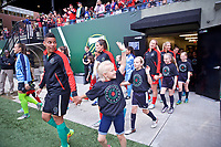 Portland, OR - Saturday June 17, 2017: Portland Thorns FC  during a regular season National Women's Soccer League (NWSL) match between the Portland Thorns FC and Sky Blue FC at Providence Park.