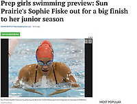 Sun Prairie's Sophie Fiske looks up at her time, as Sun Prairie wins the 200 yard freestyle relay at the Middleton Invitational girls high school swimming tournament on 9/29/18 at Middleton High School in Middleton, Wisconsin | Wisconsin State Journal 2019 WIAA state tournament preview article page B6 Sports 11/1/19 and online at https://madison.com/wsj/sports/high-school/swimming/prep-girls-swimming-preview-sun-prairie-s-sophie-fiske-out/article_20903a0b-56c7-5e56-90f1-fa04a9eba162.html