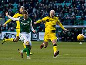 9th February 2019, Easter Road, Edinburgh, Scotland; Scottish Cup football fifth round, Hibernian versus Raith Rovers; Florian Kamberi of Hibernian takes a shot at goal