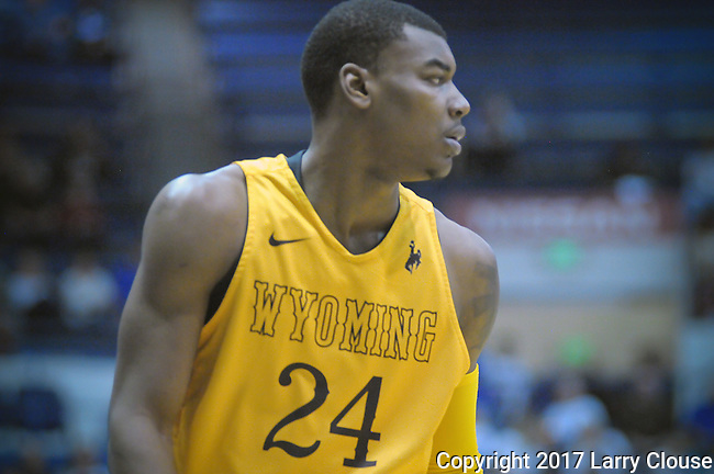 February 4, 2017:  Wyoming guard, Louis Adams #24, during the NCAA basketball game between the Wyoming Cowboys and the Air Force Academy Falcons, Clune Arena, U.S. Air Force Academy, Colorado Springs, Colorado.