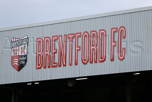 April 14th 2017,  Brent, London, England; Skybet Championship football, Brentford versus Derby County; Current Brentford FC crest and signage on one of the main stands