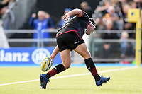 Jamie George of Saracens scores a try. Aviva Premiership match, between Saracens and Wasps on October 8, 2017 at Allianz Park in London, England. Photo by: Patrick Khachfe / JMP