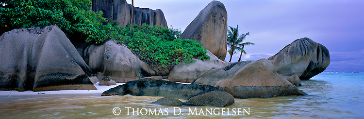 A rocky beach of La Digue Island in the Seychelles.