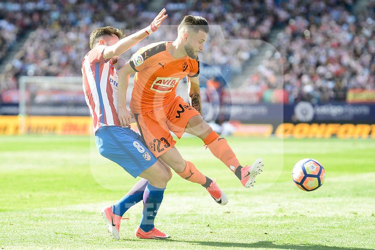 Atletico de Madrid's Saúl Ñígez and SD Eibar's David Junca Reñe during Liga Liga match between Atletico de Madrid and SD Eibar at Vicente Calderon Stadium in Madrid, May 06, 2017. Spain.<br /> (ALTERPHOTOS/BorjaB.Hojas)