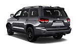 Car pictures of rear three quarter view of a 2018 Toyota Sequoia TRD Sport 5 Door SUV angular rear