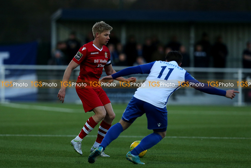Alex Bentley of AFC Hornchurch and Lewis Taaffe of Enfield Town during AFC Hornchurch vs Enfield Town, Velocity Trophy Final Football at Parkside on 10th April 2019