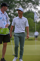 Thorbjorn Olesen (DEN) shares a laugh with his caddie on near the green on 14 during the round 1 of the AT&amp;T Byron Nelson, Trinity Forest Golf Club, Dallas, Texas, USA. 5/9/2019.<br /> Picture: Golffile | Ken Murray<br /> <br /> <br /> All photo usage must carry mandatory copyright credit (&copy; Golffile | Ken Murray)