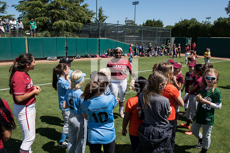 STANFORD, CA -- April 15, 2018. <br /> Whitney Burks at softball clinic after the Stanford Cardinal women's softball team loss to the Oregon State Beavers at the Smith Family Stadium 12-1.