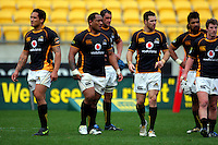 Wellington players after the loss, from left: Hosea Gear, Neemia Tialata, Daniel Ramsay, Apoua Stewart, Fafili Levave and Hayden Cripps. ITM Cup - Wellington Lions v Counties-Manukau Steelers at Westpac Stadium, Wellington, New Zealand on Sunday, 8 August 2010. Photo: Dave Lintott/lintottphoto.co.nz.