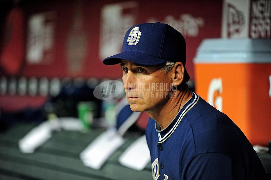 Apr. 6, 2010; Phoenix, AZ, USA; San Diego Padres manager Bud Black against the Arizona Diamondbacks at Chase Field. Mandatory Credit: Mark J. Rebilas-