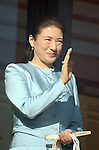 January 2, 2014, Tokyo, Japan - Princess Masako waves to a throng of well-wishers during a New Year's general audience at the Imperial Palace in Tokyo on Thursday, January 2, 2014. More than 80,000 well-wishers turned out to celebrate the coming of the new year with the imprerial family who made five appearances on the palace balcony. (Photo by Kaku Kurita/AFLO) FYJ -mis-