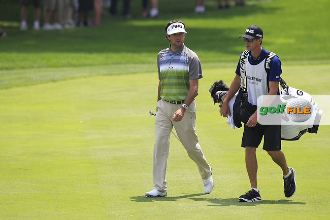 Bubba Watson (USA) walks onto the 9th green without Tiger during Sunday's Final Round to win the WGC Bridgestone Invitational, held at the Firestone Country Club, Akron, Ohio.: Picture Eoin Clarke, www.golffile.ie: 3rd August 2014