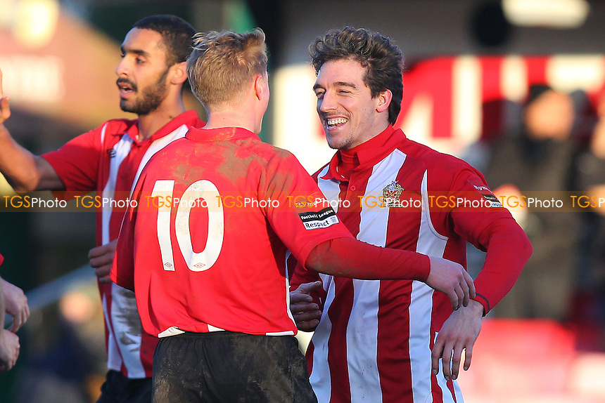 Leigh Bremner scores the fourth goal for Hornchurch and celebrates with George Purcell (10) - AFC Hornchurch vs Leiston - Ryman League Premier Division Football at The Stadium, Bridge Avenue - 15/02/14 - MANDATORY CREDIT: Gavin Ellis/TGSPHOTO - Self billing applies where appropriate - 0845 094 6026 - contact@tgsphoto.co.uk - NO UNPAID USE