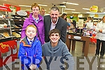 RTE 1 Kitchen Hero presenter Donal Skehan met fans in Byrne's Spar Caherslee on Wednesday afternoon. Pictured with Donal were big fans, five year old Diarmuid and his mom Patricia O Driscoll from Lixnaw, with Louis Byrne (Spar Caherslee)