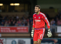 Goalkeeper Marcus Bettinelli of Fulham during the Capital One Cup match between Wycombe Wanderers and Fulham at Adams Park, High Wycombe, England on 11 August 2015. Photo by Andy Rowland.