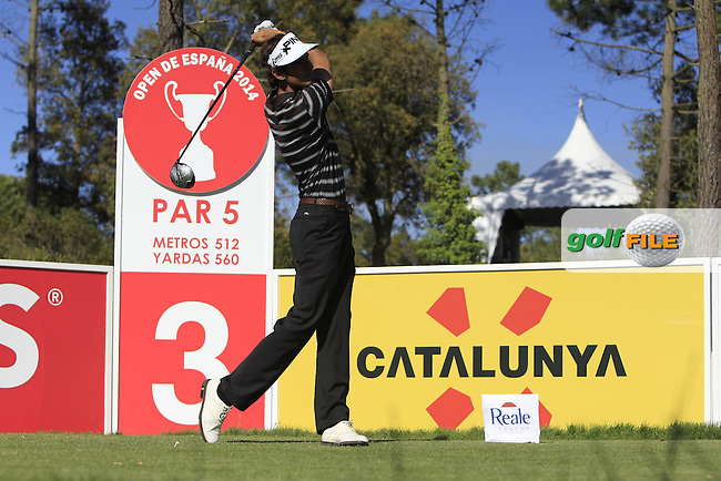 Pedro Oriol (ESP) on the 3rd tee during Thursday's Round 1 of The Open De Espana at The PGA Catalunya Resort. 15th May 2014.<br /> Picture:  Thos Caffrey / www.golffile.ie
