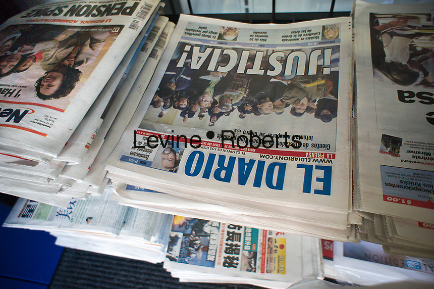 The Sunday, January 29, 2012 edition of El Diario is seen on a newsstand in New York. The Argentinian newspaper La Nacion is in negotiations to take over ImpreMedia which owns El Diario/La Prensa in New York and La Opinion in Los Angeles as well as several other Spanish language papers. (© Richard  B. Levine)