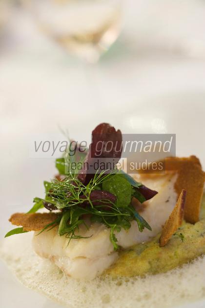 """Europe/France/Bretagne/56/Morbihan/La Trinité-sur-Mer: Filet de lieu ,brocolis et pain d'épice recette  de Rudy   Deniaud Restaurant """"l'Azimut"""""""