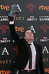 Daniel Guzman poses with Best Novel Director Goya award during 30th Goya Awards ceremony in Madrid, Spain. February 06, 2016. (ALTERPHOTOS/Victor Blanco)