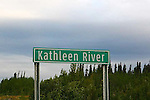 IMAGES OF THE YUKON,CANADA,  Kathleen River sign