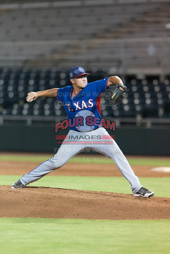 AZL Rangers relief pitcher Tyler Cohen (55) delivers a pitch during an Arizona League game against the AZL Giants Black at Scottsdale Stadium on August 4, 2018 in Scottsdale, Arizona. The AZL Giants Black defeated the AZL Rangers by a score of 6-3 in the second game of a doubleheader. (Zachary Lucy/Four Seam Images)