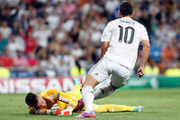 James of Real Madrid and Tomas Vaclik of FC Basel 1893 during the Champions League group B soccer match between Real Madrid and FC Basel 1893 at Santiago Bernabeu Stadium in Madrid, Spain. September 16, 2014. (ALTERPHOTOS/Caro Marin) /NortePhoto.com