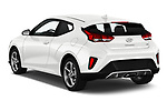 Car pictures of rear three quarter view of a 2019 Hyundai Veloster Base 3 Door Hatchback angular rear
