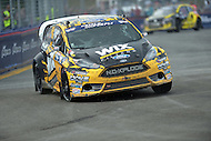Washington, DC - June 22, 2014: Nelson Piquet, Jr. drives the #75 car around Turn 10 during the final round of the Red Bull Global Rallycross on the grounds of RFK Stadium in the District of Columbia, June 22, 2014. Sandell won first place in the final heat.  (Photo by Don Baxter/Media Images International)