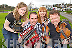 Niamh Dalton Gneeveguilla Liam Hickey Rathmore, Nicole Doyle Abbeyfeale and Brandon O'Sullivan Beaufort who performed at The Gathering traditional festival in the Gleneagle Hotel on Sunday..