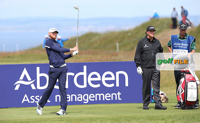 Sebastian Soderberg (SWE) playing with Phil Mickelson (USA) during Round Three of the 2015 Aberdeen Asset Management Scottish Open, played at Gullane Golf Club, Gullane, East Lothian, Scotland. /11/07/2015/. Picture: Golffile | David Lloyd<br /> <br /> All photos usage must carry mandatory copyright credit (&copy; Golffile | David Lloyd)