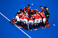 2nd February 2020; Sydney Olympic Park, Sydney, New South Wales, Australia; International FIH Field Hockey, Australia versus Great Britain; Great Britain huddle before the match starts