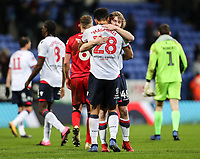 Bolton Wanderers' Josh Magennis is congratulated by team mate Luca Connell at the end of the match<br /> <br /> Photographer Andrew Kearns/CameraSport<br /> <br /> Emirates FA Cup Third Round - Bolton Wanderers v Walsall - Saturday 5th January 2019 - University of Bolton Stadium - Bolton<br />  <br /> World Copyright &copy; 2019 CameraSport. All rights reserved. 43 Linden Ave. Countesthorpe. Leicester. England. LE8 5PG - Tel: +44 (0) 116 277 4147 - admin@camerasport.com - www.camerasport.com