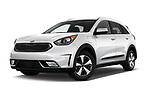 Stock pictures of low aggressive front three quarter view of a 2018 KIA Niro LX PHEV 5 Door Hatchback